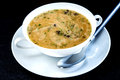 Mushroom cream soup with spoon Royalty Free Stock Photos