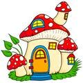Mushroom fairy house handdrawn