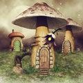 Mushroom fairy houses on a meadow