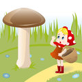 Mushroom and girl fairy illustration of little with basket which found large Stock Image