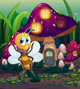 A mushroom house with a dragonfly nearby illustration of Royalty Free Stock Image