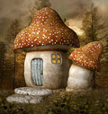 Mushroom house fantasy in the middle of the forest Stock Image