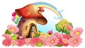 A mushroom house with a garden of flowers illustration on white background Royalty Free Stock Image