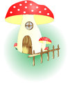 Mushroom house with grass