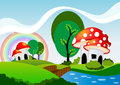 Mushroom house landscape and cartoon Stock Photography
