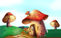 A mushroom house at the top of the hill illustration Stock Images