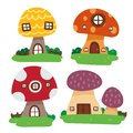 Mushroom house vector collection design