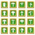 Mushroom icons set green
