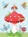 Mushroom and insects Stock Images
