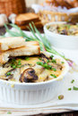 Mushroom julienne with white bread croutons casserole closeup food Royalty Free Stock Photography