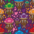 Mushroom love colorful seamless pattern Royalty Free Stock Photo
