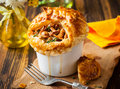 Mushroom pot pie individual with puff pastry crust Royalty Free Stock Image