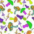Mushroom, psychedelic seamless pattern