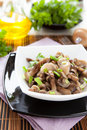 Mushroom salad in a white bowl honey closeup Royalty Free Stock Photo