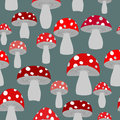 Mushroom seamless pattern. Vector background of fly agaric. Vint