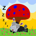 Mushroom snooze a cartoon illustration of a sheep sleeping under a very big Stock Photo