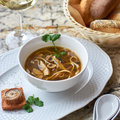 Mushroom soup with egg noodles Royalty Free Stock Photo