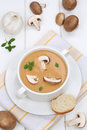 Mushroom soup food lunch with mushrooms in bowl Royalty Free Stock Photo