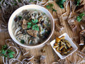 Mushroom soup with honey agarics homemade noodles and rye crouton Royalty Free Stock Photo