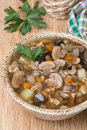 Mushroom soup with pearl barley top view vertical Stock Image