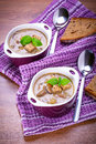 Mushroom soup with potato and croutons Royalty Free Stock Images