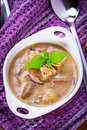 Mushroom soup with potato and croutons Stock Photography