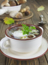 Mushroom soup with sour cream and in the bowl on the table Royalty Free Stock Images