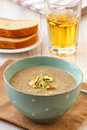 Mushroom soup in vintage blue bowl Royalty Free Stock Photo