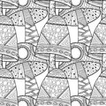 Mushrooms. Black and white illustration, seamless pattern for coloring book, pages. Royalty Free Stock Photo