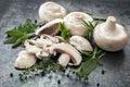 Mushrooms And Herbs Food Backg...