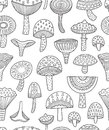 Mushrooms ink seamless pattern. Coloring book page