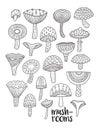 Mushrooms ink set. Coloring book page