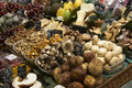 Mushrooms on market stall Stock Images