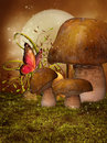 Mushrooms moon and butterfly fantasy scenery with red Royalty Free Stock Photography