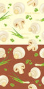 Mushrooms with parsley and chives seamless background illustration Stock Photography