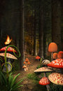 Mushrooms path enchanted nature series Royalty Free Stock Images