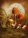 Mushrooms plums and pears colorful fantasy with butterflies Stock Photography