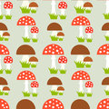 Mushrooms seamless pattern fly agaric and boletus Stock Photo