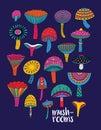 Mushrooms set in hallucinogenic colors