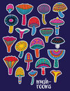 Mushrooms stickers set in hallucinogenic colors