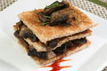 Mushrooms on toast triple layer of fresh fried field slices Royalty Free Stock Image