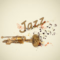 Music abstract background with trumpet and notes Stock Images