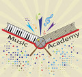 Music academy logo for vector illustration Royalty Free Stock Photo
