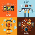 Music audio disco band flat icons with instruments microphone and headphone surrounded notes recording studio equipment and Royalty Free Stock Image
