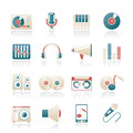 Music and audio equipment icons Royalty Free Stock Image