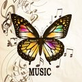 Music background with butterfly Royalty Free Stock Photo