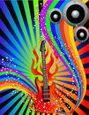 Music background with guitar and rainbow Royalty Free Stock Photo