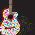 Music background with guitar vector abstract black Royalty Free Stock Image