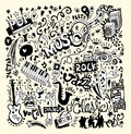 Music background hand drawing doodle abstract collage with musical instruments vector illustration Stock Photography