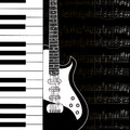 Music background with keyboard guitar and stave notes in black white Stock Images